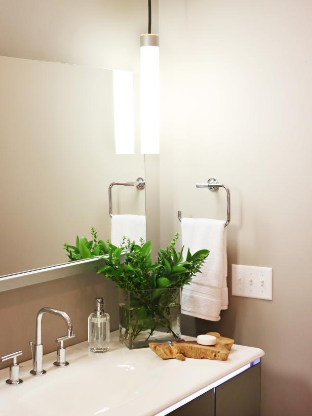 Modern, Neutral Bathroom Vanity With Pendant Lighting