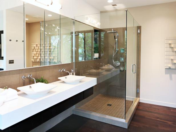 Neutral Bathroom With Double Vanity, White Vessel Sinks & Glass Shower