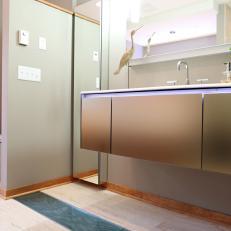 Modern Neutral Bathroom With Wood Floor
