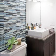 Delightful Cotentemporary Bathroom With Blue Sea Glass Tile