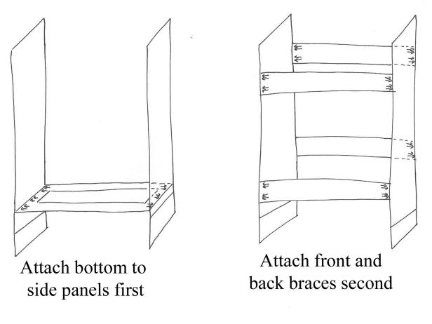When putting together a custom range hood, assemble front panel and side panels according to plan. Arrows indicate approximate placement of pocket-hole screws; holes should be drilled into side that will be not be visible when range hood is completed. Make a clear diagram so you approach your project with a plan.