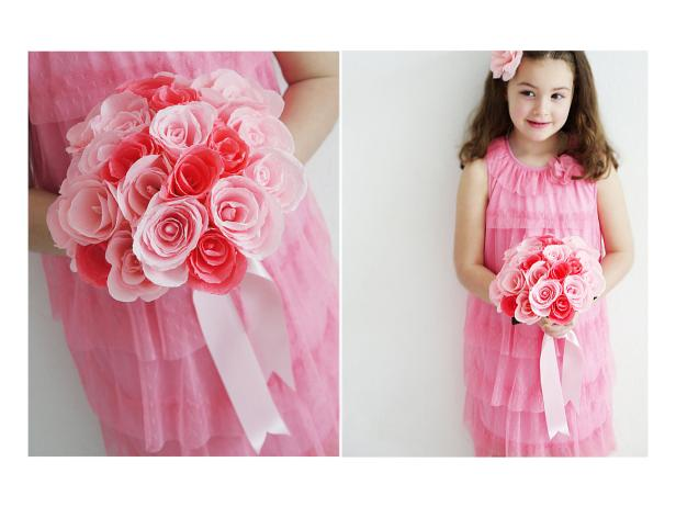 Flower Girl With Paper Bouquet