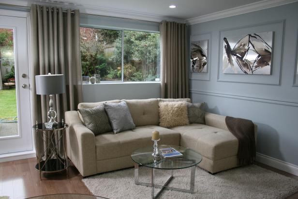 Neutral Sectional In Blue Living Room Hgtv