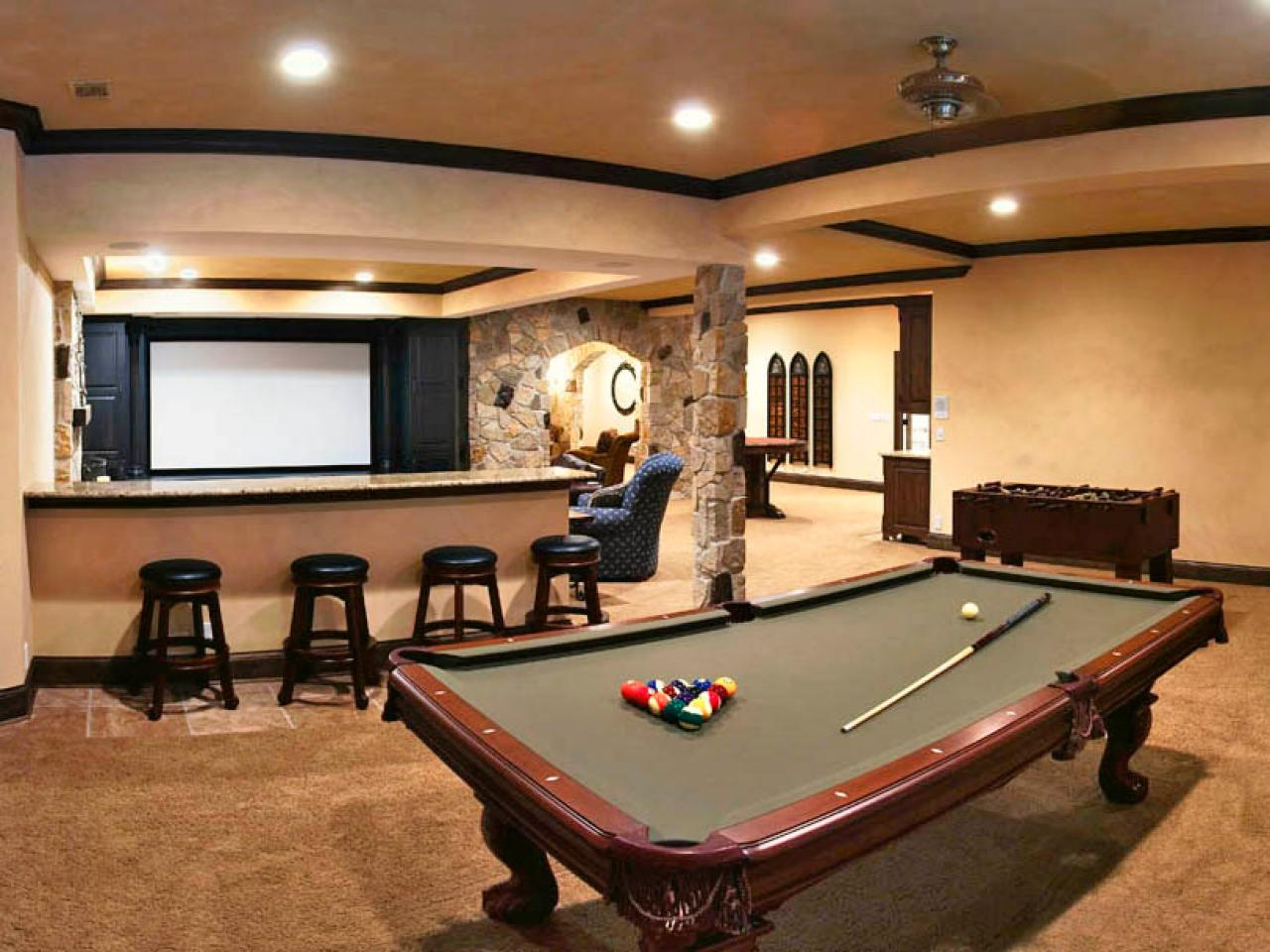 Solving basement design problems hgtv Basement game room ideas