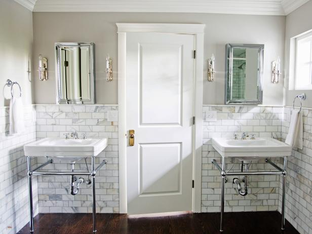 Marble Bathroom With Console Sinks