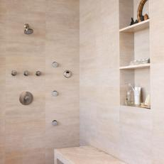 Modern Spa-Like Shower With Beige Marble Tile