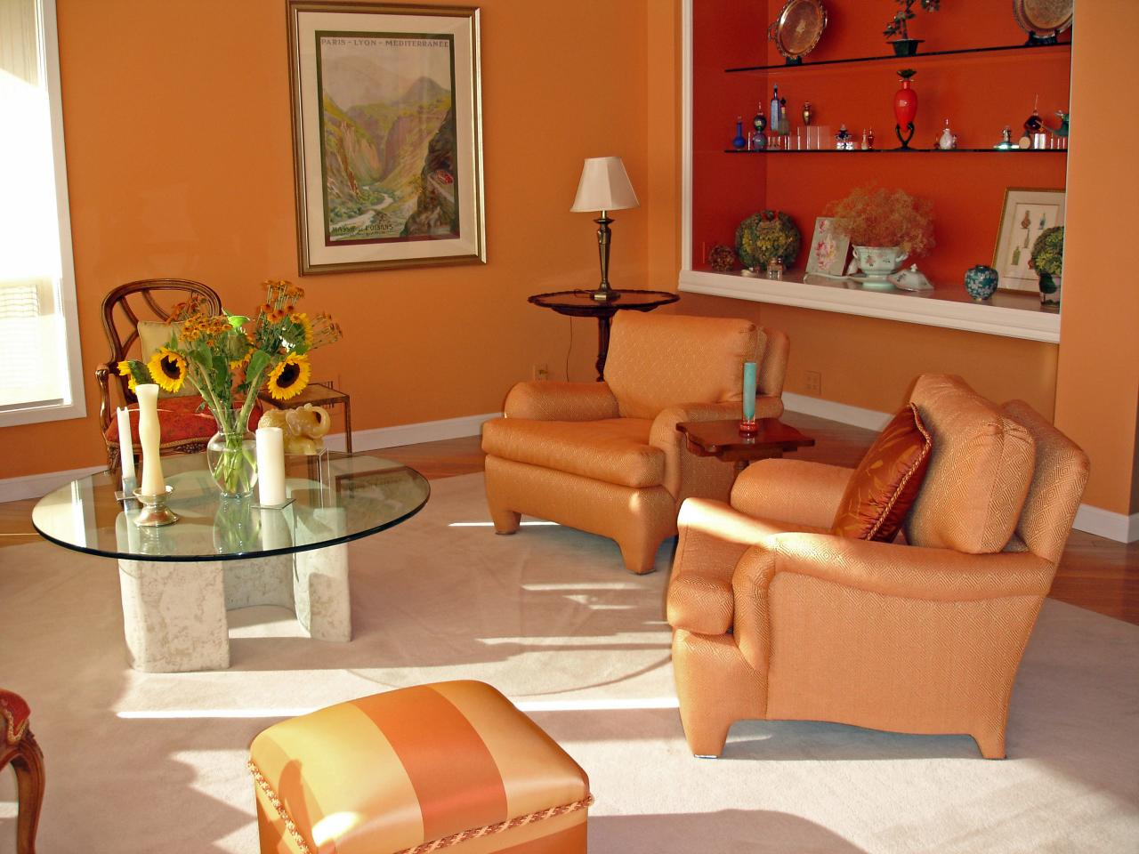 orange inspires lively living space | jean larette | hgtv