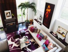 Modern White Living Room With Purple Rug