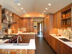 Midcentury Modern Kitchen With Warm Wood Cabinetry