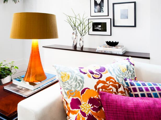 Colorful Pillows and Lamp