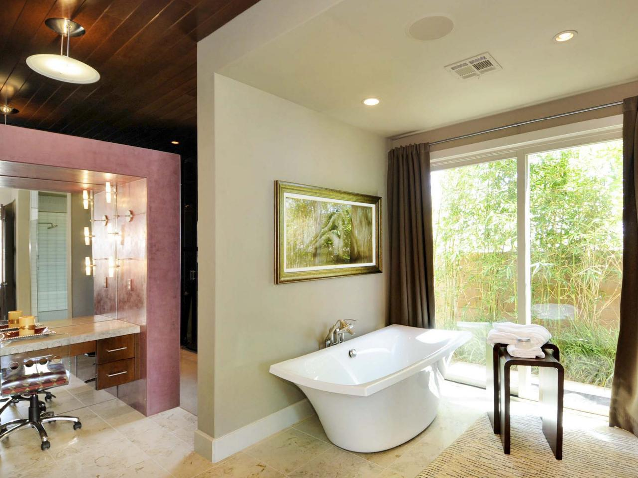 Wooden bathtub designs pictures ideas tips from hgtv for Open bathroom designs