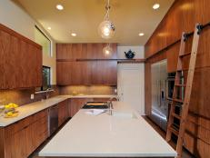 Contemporary Kitchen With Walnut Cabinetry