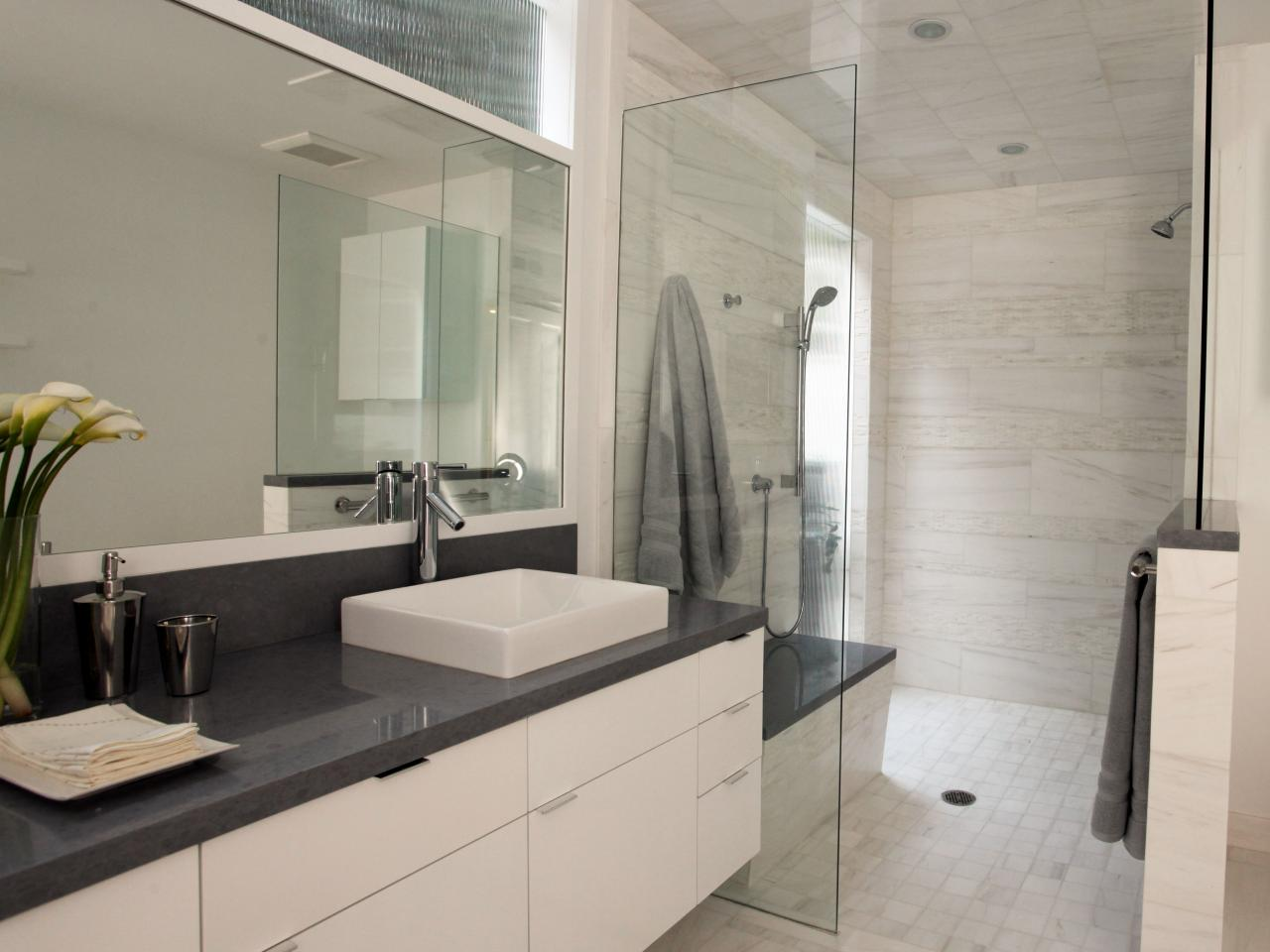 Light airy contemporary bathroom christopher grubb hgtv for Photos of contemporary bathrooms