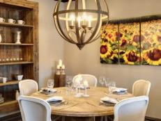 Townhouse Dining Nook With Circular Chandelier