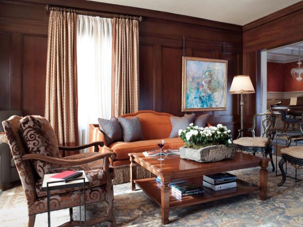 Transitional Living Room With Wood Paneled Walls