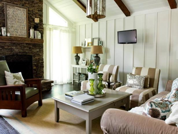 Neutral Cottage Style Living Room