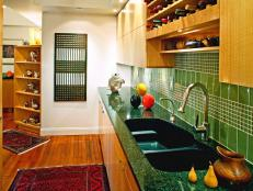 Contemporary Kitchen with Green Backsplash and Countertops
