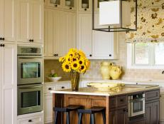 Cottage Style White Kitchen With Center Island