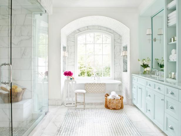 Old World Master Bathroom With Carrara Marble Floor