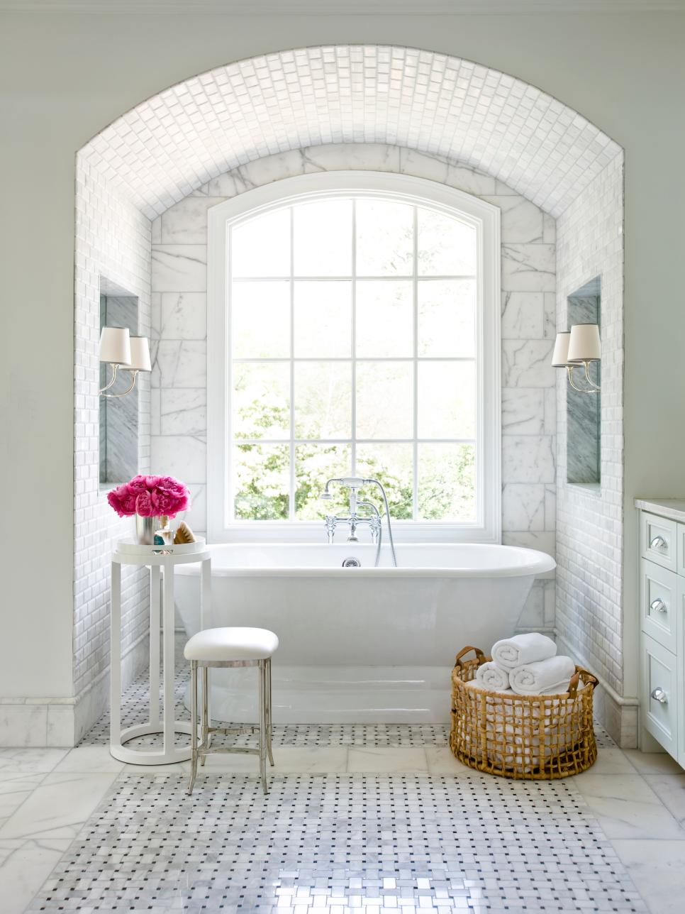 Bathroom Ideas Marble 15 simply chic bathroom tile design ideas | hgtv