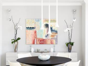 White Modern Dining Room With Abstract Art