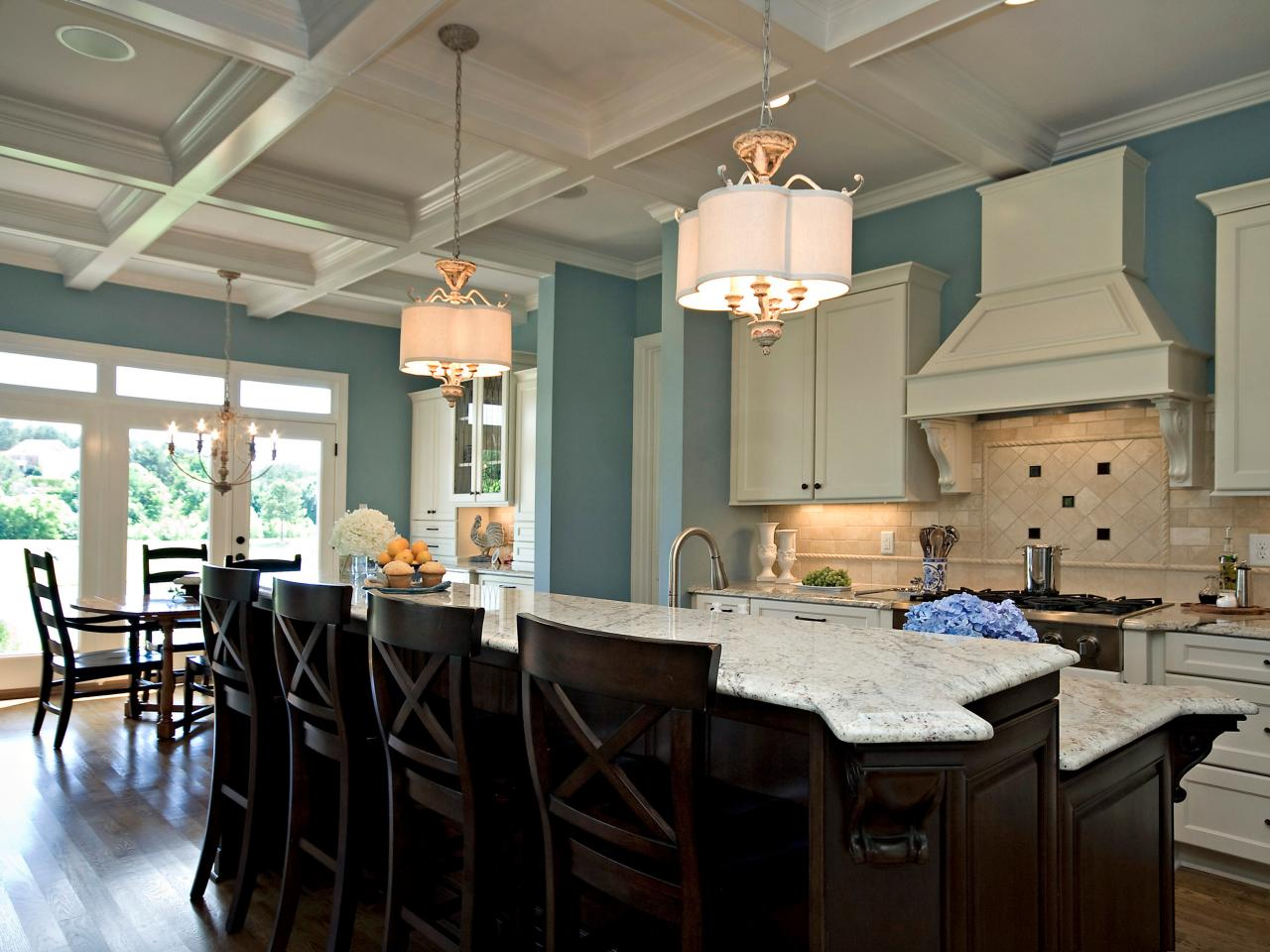 Blue and white kitchen kerrie kanter hgtv Blue kitchen paint color ideas
