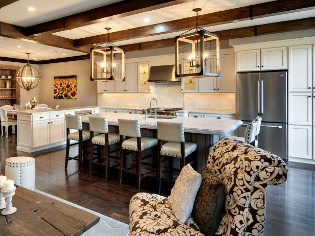 Transitional Beige Kitchen With Large Rustic Lanterns