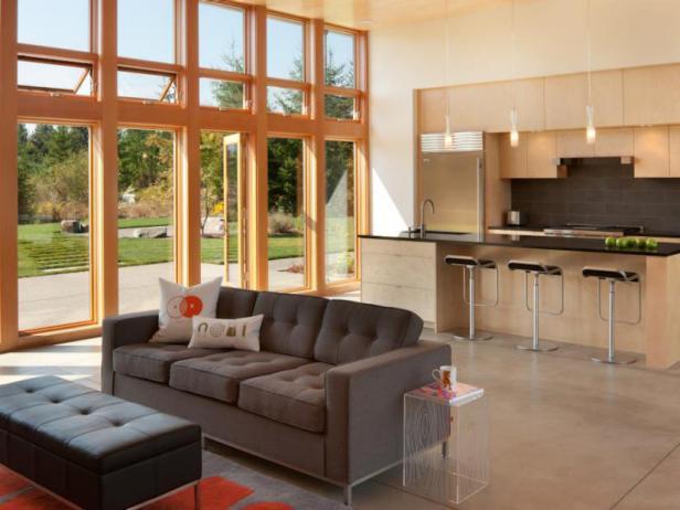 Neutral Modern Open Plan Kitchen and Living Room