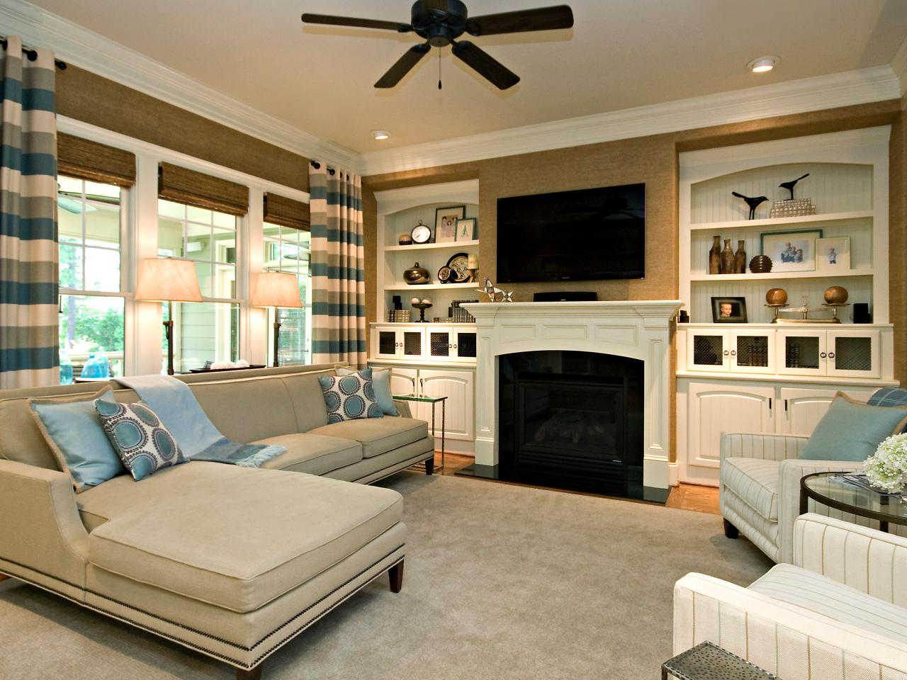 Classic simple family room rebecca driggs hgtv for How decorate family room