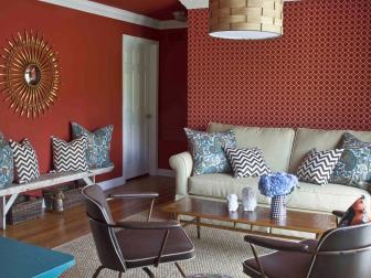 Bold Red Patterned Living Room