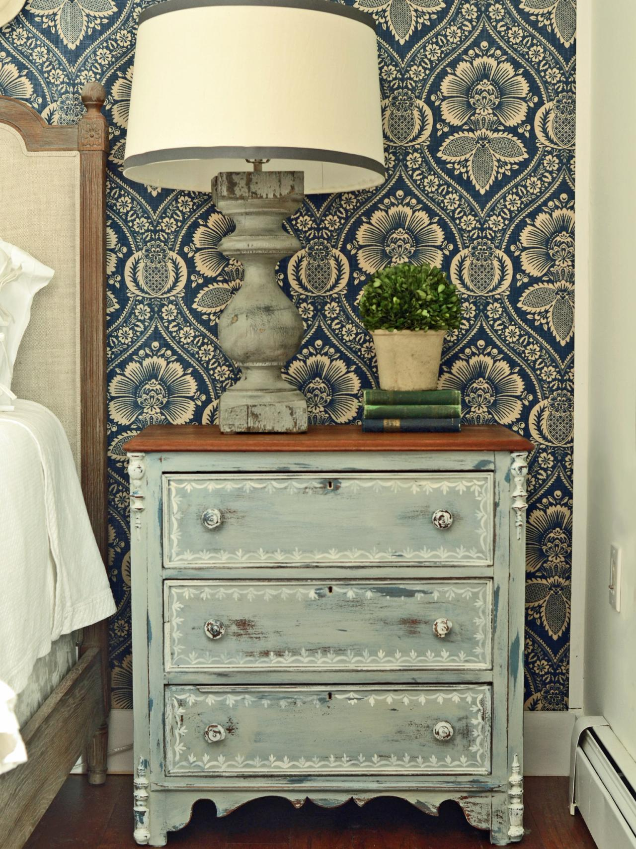 Give plain nightstands rustic charm with milk paint hgtv for Painting designs on wood furniture