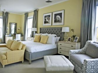 Light Yellow Bedroom With Trendy Gray Furnishings