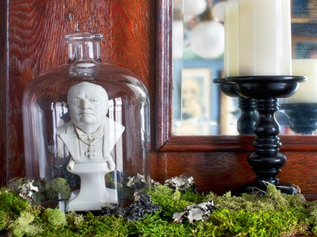 Bell Jar With Stone Bust for Halloween Decor