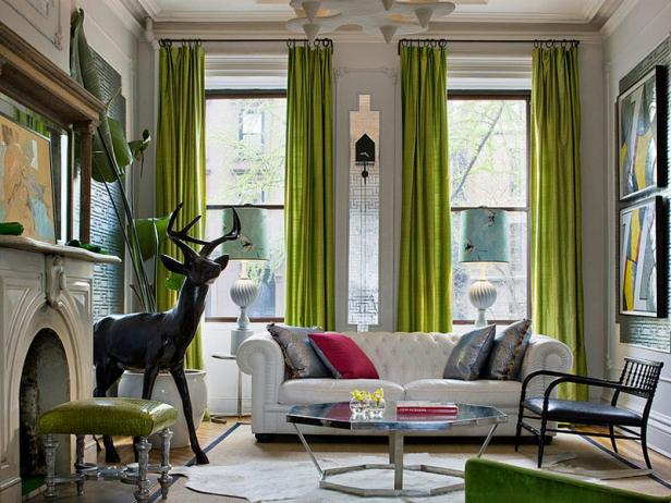 Eclectic Living Room With Bold Chartreuse Drapes