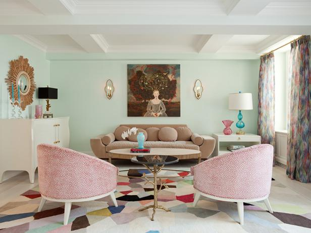 Eclectic Living Room With Pastel Color Palette
