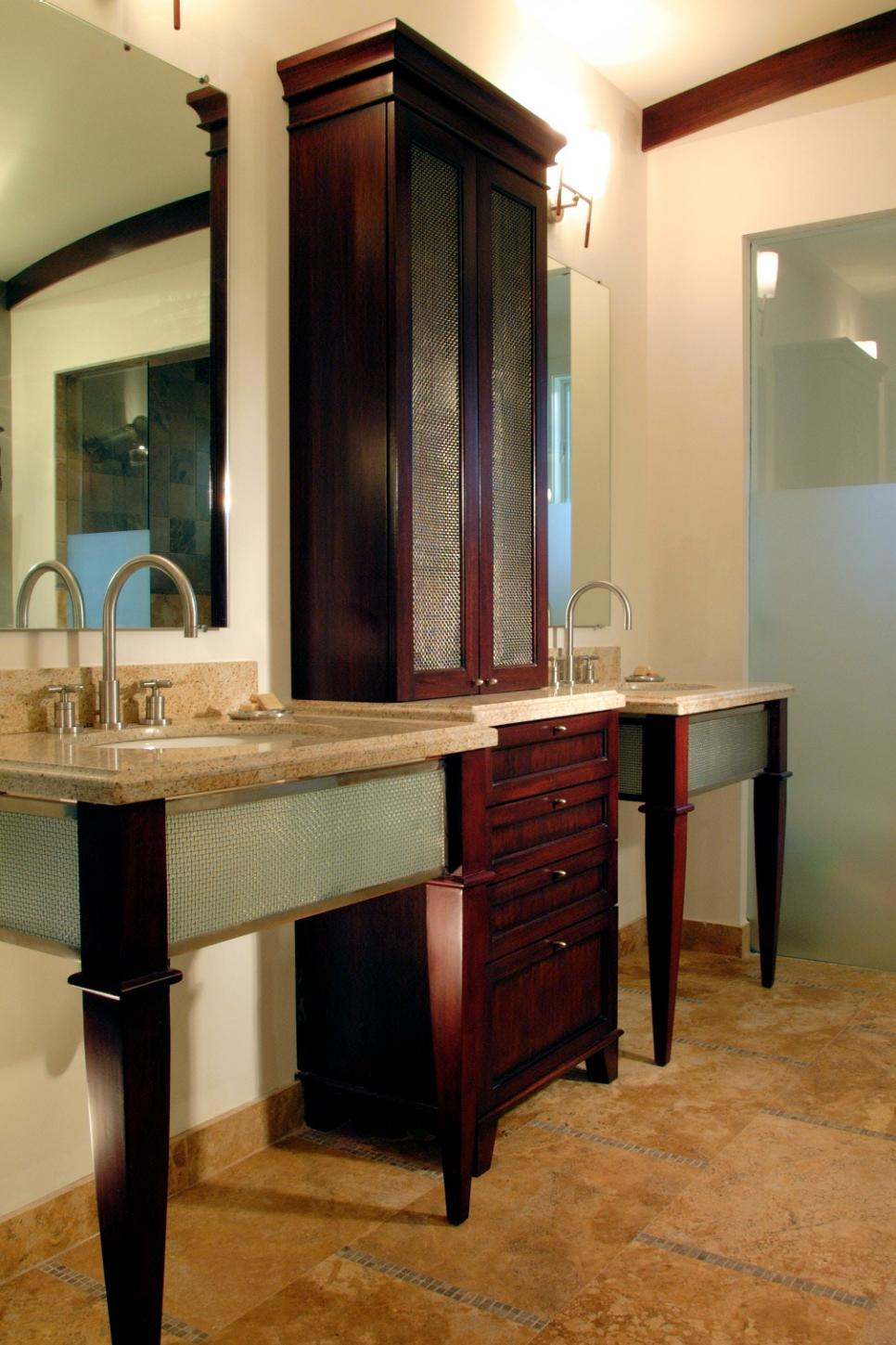 18 savvy bathroom vanity storage ideas hgtv for Bathroom vanity designs