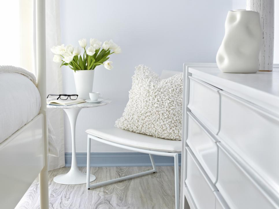 white on white guest bedroom makeover hgtv