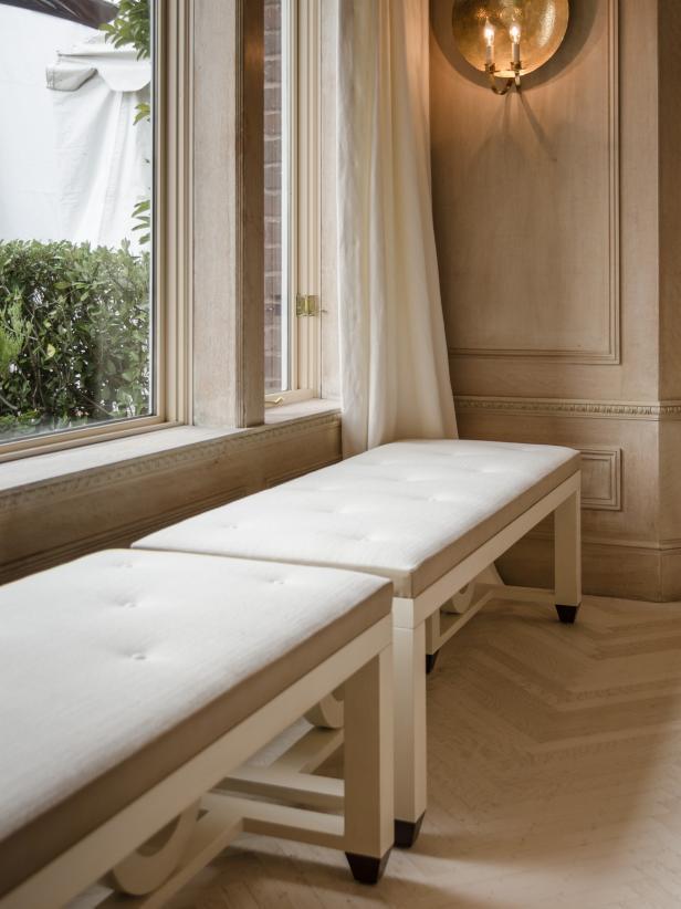 White Benches Beneath Window