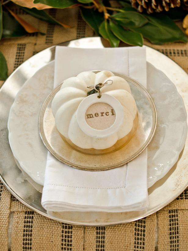Layered Plates With White Pumpkin
