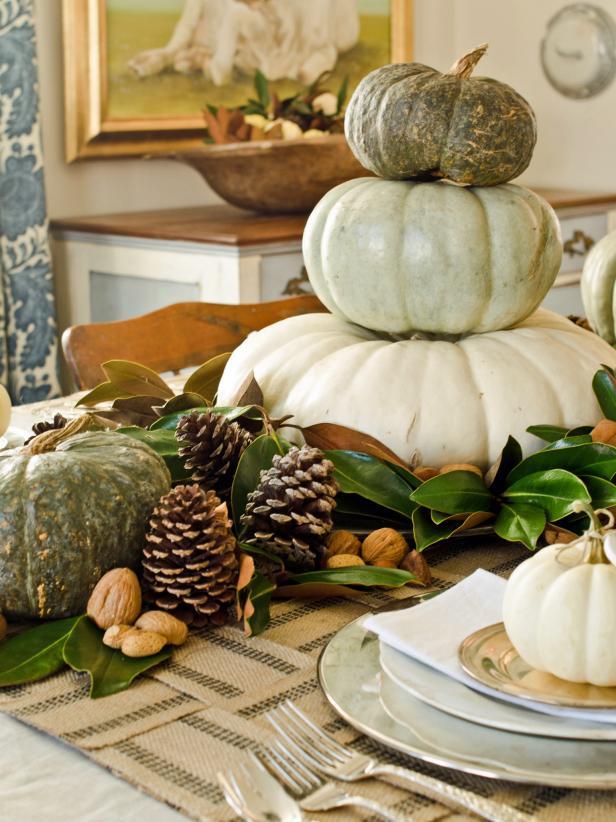 Gourd, White Pumpkin and Pinecone Centerpiece