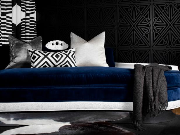 Art Deco Bedroom with Navy Blue Velvet Daybed
