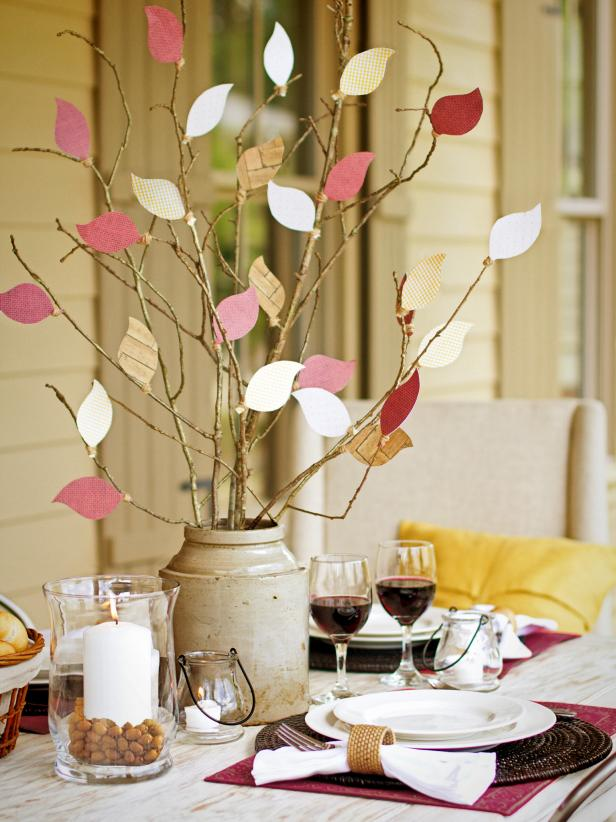Dining Table With Paper Leaf Centerpiece