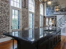 Black Kitchen Island With a View