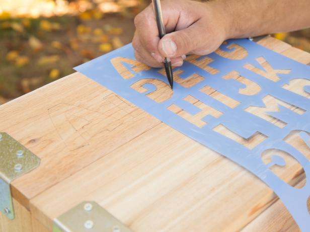 Stencil Name Onto Wood Crate