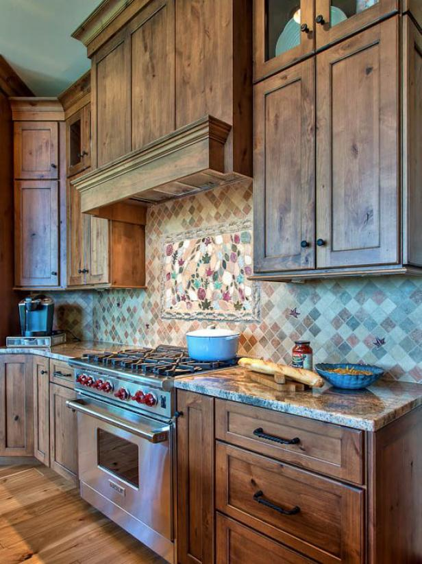 Rustic Kitchen with Wood Cabinetry and Tile Backsplash
