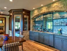 Rustic Wet Bar in Blue