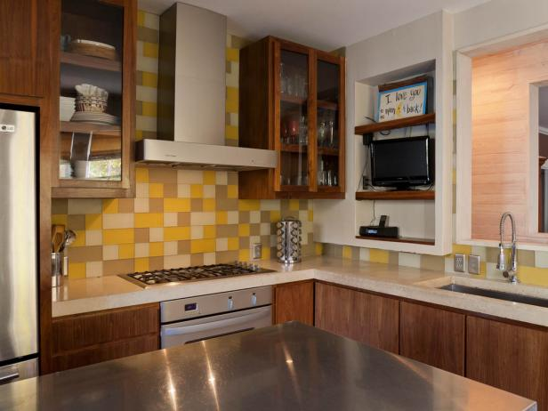 Contemporary Kitchen With Yellow and Beige Backsplash