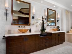 White Bathroom With Asian-Style Double Vanity
