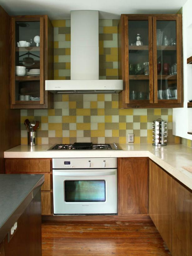 Contemporary Kitchen with multicolor tile backsplash