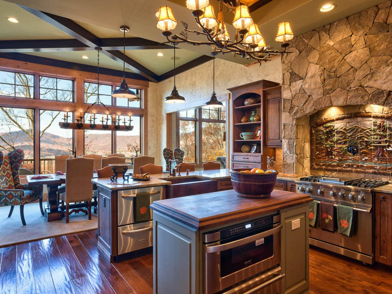 Rustic stone kitchen with country appeal heather guss hgtv Rustic kitchen designs